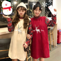 Dress Winter of 2018 Khaki, red, blue One size fits all, XXXs pre-sale Mid length dress singleton  Long sleeves commute stand collar Loose waist Animal design Socket other other 18-24 years old Other / other Korean version Embroidery 0301#