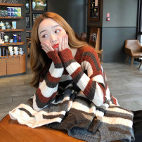 Wool knitwear Autumn 2020 One size fits all, XXXs pre-sale Light brown, grey, dark grey, apricot Long sleeves singleton  Socket other 30% and below Regular routine commute easy Low crew neck routine stripe Socket Korean version 18-24 years old other