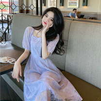 Dress Summer 2020 Apricot, lavender S. M, l, XXS pre-sale longuette singleton  Short sleeve commute square neck High waist Socket Big swing puff sleeve Others 18-24 years old Type A Stitching, lace 30% and below other