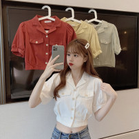 shirt One size fits all, XXXs pre-sale Summer 2020 other 30% and below Short sleeve commute Medium length tailored collar Single row multi button puff sleeve Solid color 18-24 years old Self cultivation other Button
