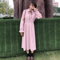 Dress Winter of 2018 One size fits all, XXXs pre-sale Mid length dress singleton  Long sleeves commute Polo collar Elastic waist Solid color routine Others 18-24 years old Other / other Korean version Bow tie 81% (inclusive) - 90% (inclusive) polyester fiber