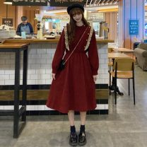 Dress Winter of 2019 Red, black One size fits all, XXXs pre-sale Mid length dress singleton  Long sleeves commute 18-24 years old Korean version