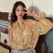 shirt yellow One size fits all, XXXs pre-sale Summer of 2019 polyester fiber 96% and above Long sleeves commute Regular Crew neck Single row multi button pagoda sleeve Broken flowers 18-24 years old Straight cylinder Other / other Korean version