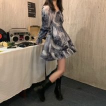 Dress Spring 2021 Tie dyed grey One size fits all, XXXs pre-sale Middle-skirt singleton  Long sleeves commute square neck Socket 18-24 years old Type A Korean version