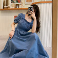 Dress Summer 2020 Dark blue, light blue One size fits all, XXXs pre-sale longuette singleton  Short sleeve commute square neck High waist Solid color other other puff sleeve Others 18-24 years old Type A Korean version fold 30% and below other