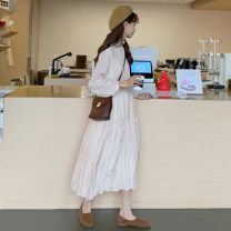 Dress Spring of 2019 White, apricot pink One size fits all, XXXs pre-sale Mid length dress singleton  Long sleeves commute stand collar Loose waist Solid color Socket other other Others 18-24 years old Other / other Korean version