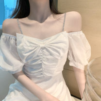 Women's large Summer 2020 Purple [Platycodon grandiflorum French sweet dress], white [fairy super fairy goddess] Large L, s, M Dress singleton  commute Self cultivation Socket Short sleeve Solid color Korean version One word collar other Three dimensional cutting 5196# Other / other 18-24 years old