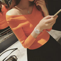 T-shirt Orange, white, red, black, (Collection + shopping cart priority delivery Oh ~) Average size Autumn of 2019 Long sleeves V-neck Self cultivation Regular routine commute other 71% (inclusive) - 85% (inclusive) Korean version Solid color Other / other thread