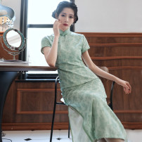 cheongsam Spring 2021 S M L XL XXL 3XL HQ long Chiffon jacquard green Short sleeve Short cheongsam Retro High slit daily Oblique lapel Decor 18-25 years old Piping HSC4142 Red house polyester fiber Polyester 92% polyurethane elastic fiber (spandex) 8% Exclusive payment of tmall