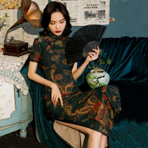 cheongsam Spring 2021 S M L XL XXL 3XL 4XL 9021 green 9021 red Short sleeve long cheongsam Retro High slit daily Oblique lapel Decor 25-35 years old Piping HSC4059 Red house polyester fiber Polyester 92% polyurethane elastic fiber (spandex) 8% Exclusive payment of tmall