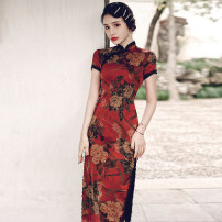 cheongsam Spring 2021 M L XL XXL 3XL 4XL TX long lace red phoenix tail peony 984 Short sleeve long cheongsam ethnic style High slit daily Oblique lapel Decor 18-25 years old Piping HSC4197 Red house polyester fiber Polyester 100% Pure e-commerce (online only)