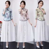 cheongsam Spring of 2019 S M L XL XXL 3XL three quarter sleeve long cheongsam grace No slits daily Oblique lapel Decor 18-25 years old Piping Red house polyester fiber Polyester 92% polyurethane elastic fiber (spandex) 8% Exclusive payment of tmall