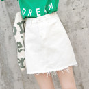 skirt Summer of 2018 25 26 27 28 29 30 31 32 White Beige Short skirt Versatile High waist A-line skirt Type A 18-24 years old 91% (inclusive) - 95% (inclusive) Denim Origin note cotton Pocket button zipper Cotton 95% other 5% Pure e-commerce (online only)