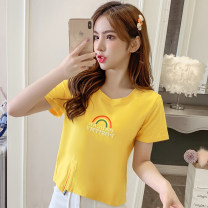 T-shirt White, yellow Xs, s, m, l, XL, XXS genuine smaller 140-160 Summer 2021 Short sleeve Crew neck Self cultivation have cash less than that is registered in the accounts other commute other 96% and above 18-24 years old Korean version other Zhenyaluo