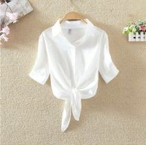 Dress Summer of 2018 White one-piece jacket, red, white, blue one-piece jacket, dark blue, blue jeans, blue one-piece jacket, white white coffee skirt, blue S,M,2XL,3XL,L,XL,4XL Two piece set Short sleeve commute stand collar middle-waisted Solid color Three buttons Princess Dress camisole Chiffon