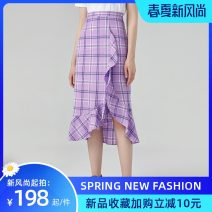 skirt Spring 2021 S code, M code [purple check skirt] Mid length dress Sweet High waist Irregular lattice Type A 18-24 years old 30% and below other Ruffles, asymmetric solar system