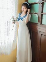 Dress Summer 2021 white S,M,L longuette singleton  Short sleeve commute Admiral High waist Solid color zipper A-line skirt routine Others Type X lady Chiffon Chloroprene