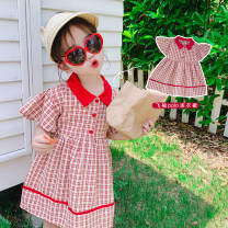 Dress gules female Other / other 80cm,90cm,100cm,110cm,120cm,130cm,140cm Cotton 90% other 10% summer other Short sleeve lattice cotton A-line skirt AUT968 12 months, 3 years, 6 years, 18 months, 2 years, 5 years, 4 years Chinese Mainland Zhejiang Province Huzhou City