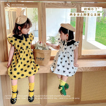 Dress Yellow dot, white love female Other / other 80cm,90cm,100cm,110cm,120cm Other 100% summer leisure time Long sleeves lattice other A-line skirt AUT1482 12 months, 3 years, 6 years, 18 months, 2 years, 5 years, 4 years Chinese Mainland Zhejiang Province Huzhou City