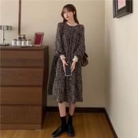 Dress Puff puff M,L,XL,XXL Korean version Long sleeves Medium length spring Crew neck Decor