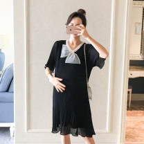 Dress Puff puff Black, blue M,L,XL Korean version Short sleeve have more cash than can be accounted for summer Crew neck Solid color Chiffon WS004504