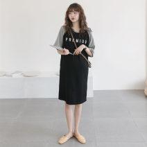 Dress Other / other Black, gray Average size Korean version elbow sleeve routine summer Crew neck letter T-shirt skirt