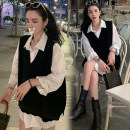 Dress Puff puff Black vest + White shirt (2-piece set) , Vest + shirt + Black pants (three piece set) M,L,XL,XXL Korean version Long sleeves Medium length spring Lapel Solid color Pure cotton (95% and above)