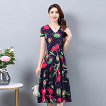 Dress Summer 2021 Color 1, color 2, color 3, color 5, color 6, color 7, color 8, color 9, color 10, color 11, color 12, color 13, color 15, color 16, color 17, color 18 L,XL,2XL,3XL,4XL,5XL longuette singleton  Short sleeve commute Crew neck middle-waisted Decor Socket Big swing routine Type A cotton
