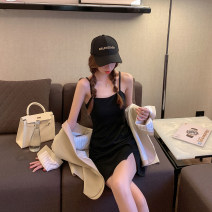 Dress Summer 2020 Black, coffee, black long, coffee long XS,S,M,L,XL,2XL,3XL Short skirt singleton  Sleeveless Sweet other High waist Solid color Socket A-line skirt other camisole 18-24 years old Type A WITH MX BOOM backless XH20389 30% and below polyester fiber