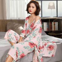 Pajamas / housewear set female Other / other L [recommended 90-110 kg] XL [recommended 110-125 kg] XXL [recommended 125-150 kg] m [recommended 70-100 kg] viscose  three quarter sleeve sexy pajamas summer Thin money Crew neck Plants and flowers Ninth pants Socket youth 3 pieces rubber string printing