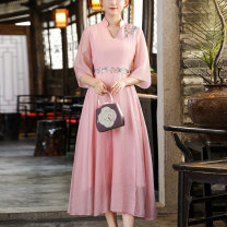 Dress Summer 2021 Pink Blue M L XL XXL longuette singleton  three quarter sleeve commute V-neck High waist Solid color zipper A-line skirt other Others 25-29 years old Type A Qingqiluo Retro Embroidered stitching CQL2106-1 30% and below other nylon Lyocell 71.7% polyamide 28.3%