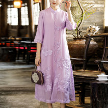 Dress Summer 2021 White purple M L XL XXL longuette singleton  three quarter sleeve commute stand collar Loose waist Solid color Socket A-line skirt other Others 25-29 years old Type A Qingqiluo Retro Embroidered button CQL2105 - one More than 95% other polyester fiber Other polyester 95% 5%