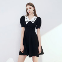 Dress / evening wear The company's annual convention performs daily appointments XS S M L XL XXL Black (htxa0607) grace Short skirt middle-waisted Summer 2020 Self cultivation square neck zipper 18-25 years old HTXA0607 Short sleeve Solid color Huatangxiu routine Polyester 80% other 20% other