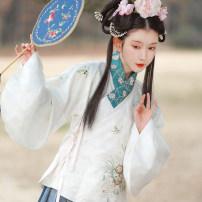 Hanfu 96% and above Spring 2021 White cross collar jacket, blue gold horse face skirt, purple gold horse face skirt S,M,L polyester fiber