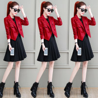 Dress Autumn 2020 Black (5.1 delivery) red (5.1 delivery) M L XL XXL Mid length dress Two piece set Long sleeves commute One word collar High waist Solid color double-breasted A-line skirt routine Others 18-24 years old Type A Yunyao Korean version Button 20169YYL More than 95% other