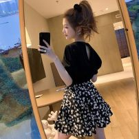 skirt Spring 2020 Ml XL s (80-100kg) Black open back top black open back top + umbrella skirt set small daisy skirt (elastic waist umbrella, with lining) small daisy black T-shirt Mid length dress commute High waist A-line skirt Type A mtp8HO More than 95% Gvaeimvr / Guimo other Korean version