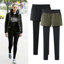 Leggings Autumn of 2019 Black army green M L XL 2XL 3XL 4XL 5XL 6XL Plush trousers 25-29 years old Oumo Wei polyester Pure e-commerce (online only) Polyester fiber 61.7% viscose fiber (viscose fiber) 35.2% polyurethane elastic fiber (spandex) 3.1%
