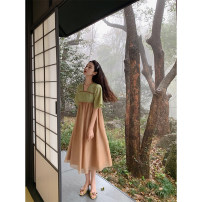 """Dress Spring 2021 """"Cao Ying"""" improved the first batch of Hanfu, """"Cao Ying"""" improved the second batch of Hanfu, """"Cao Ying"""" improved the third batch of Hanfu S,M,L Mid length dress singleton  Short sleeve commute V-neck Others 18-24 years old Type A Peachcola / Peach Retro"""