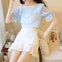 Dress Summer of 2019 S,M,L Short skirt Two piece set Short sleeve commute Slant collar High waist Solid color Socket One pace skirt Princess sleeve Oblique shoulder 18-24 years old Type H Ruo Manqi lady More than 95% brocade polyester fiber