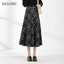skirt Winter 2020 XS S M L XL 2XL black Mid length dress commute High waist Umbrella skirt lattice Type A 18-24 years old G3628 More than 95% Wool Kooge polyester fiber zipper Retro Polyester 100%