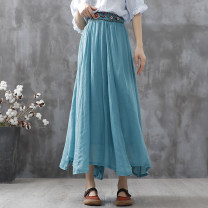 skirt Summer 2021 Average size White Black Rose lake blue Mid length dress commute High waist A-line skirt Decor Type A 30-34 years old ML13743 More than 95% Feather embroidery other Embroidery literature Other 100% Pure e-commerce (online only)