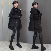 short coat Autumn 2020 S,M,L Black, off white Long sleeves routine routine singleton  easy street routine Hood zipper Solid color OZZCK