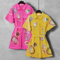 Jumpsuit / pants 96% and above shorts other middle-waisted street Rose red (for belt) yellow (for belt) S M L XL 2XL routine Summer 2021 Straight cylinder 26005A Duo Yue Pure e-commerce (online only)