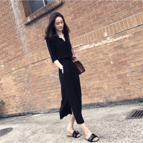 Dress Spring of 2019 Red, black, sky blue S,M,L,XL,2XL longuette singleton  elbow sleeve commute V-neck High waist Solid color Socket One pace skirt routine Others 18-24 years old Type H Other / other Korean version Folds, pockets More than 95% Chiffon other