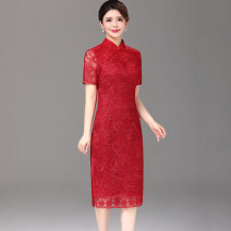 Middle aged and old women's wear Spring 2020 Red, red - long sleeves L (recommended 100-110 kg), XL (recommended 110-120 kg), 2XL (recommended 120-130 kg), 3XL (recommended 130-140 kg), 4XL (recommended 140-150 kg), 5XL (recommended 150-160 kg), 6xl (recommended 155-170 kg), this size is small noble