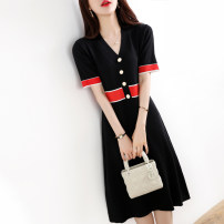 Dress Summer 2021 Navy blue, black M,L,XL Mid length dress three quarter sleeve commute V-neck High waist other routine Type H Simplicity other other