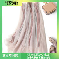 skirt Spring 2021 Average size Navy, black, pink longuette commute High waist A-line skirt Solid color Type A 91% (inclusive) - 95% (inclusive) polyester fiber Gauze