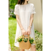 Dress Summer 2021 white S,M,L Middle-skirt singleton  Short sleeve Sweet Crew neck Loose waist Solid color Socket routine Type H 51% (inclusive) - 70% (inclusive) cotton