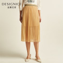 skirt Spring 2020 S,M,L,XL Champagne, black longuette commute Natural waist Pleated skirt Solid color Type A 25-29 years old D9121C9551 More than 95% Designice / desennis polyester fiber Lace Simplicity