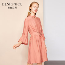 Dress Spring of 2019 Red earth S,M,L,XL,XXL Mid length dress singleton  Long sleeves Crew neck High waist pagoda sleeve 25-29 years old Type X Designice / desennis Frenulum D8118X6776 nylon